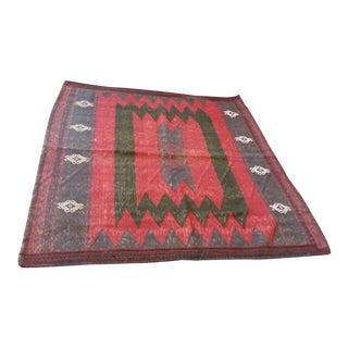 """Antique Turkmen Table Clothe Kilim Rug - 4' x 3'11"""" For Sale"""