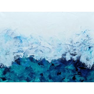 Green Teal Navy Blue Original Abstract Painting For Sale