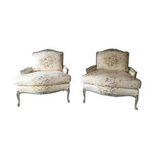 Floral Chintz Louis XV Rococo Cabriole Style Bergere Chairs - A Pair