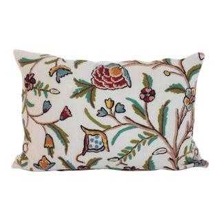 Crewel Work Bolster Pillow