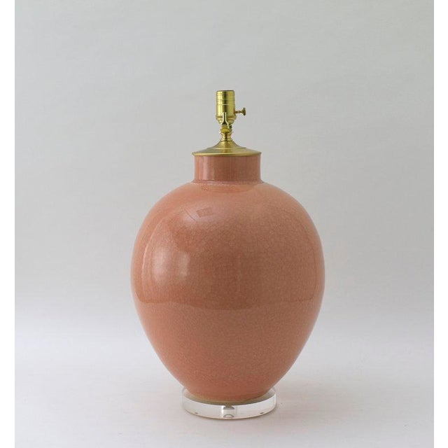 "Contemporary Paul Schneider Ceramic ""Valentine"" Lamp in Crackle Rose Glaze For Sale - Image 3 of 4"