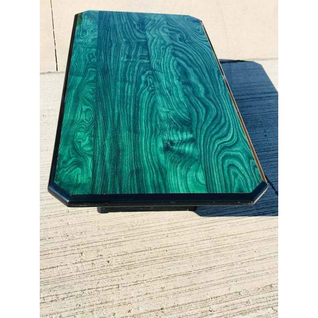 1980s 1980s Vintage Wood Coffee Table Malachite Finish For Sale - Image 5 of 12