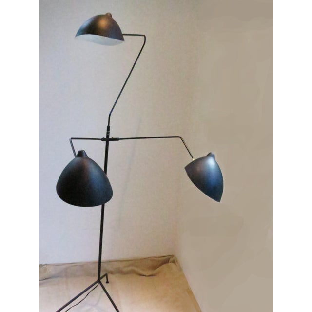 Serge Mouille Standing Three-Arm Lamp by Serge Mouille For Sale - Image 4 of 8