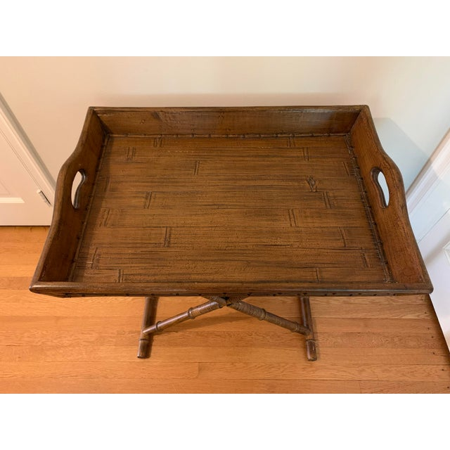 1960s Mid Century Faux Bamboo and Rattan Folding Tray Table For Sale In New York - Image 6 of 12