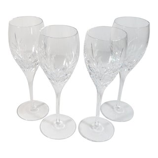Miller Rogaska Covington Pattern Cut Glass Crystal Wine Goblets - Set of 4