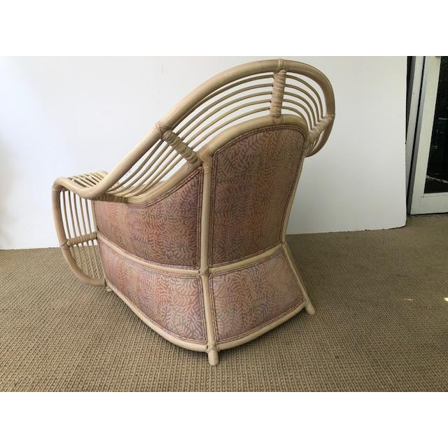1980s 1980s Vintage Palm Beach Regency Rattan and Reed Lounge Chair & Ottoman For Sale - Image 5 of 11
