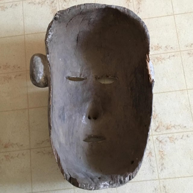 White Vintage Tribal Hand Carved African Mask For Sale - Image 8 of 9