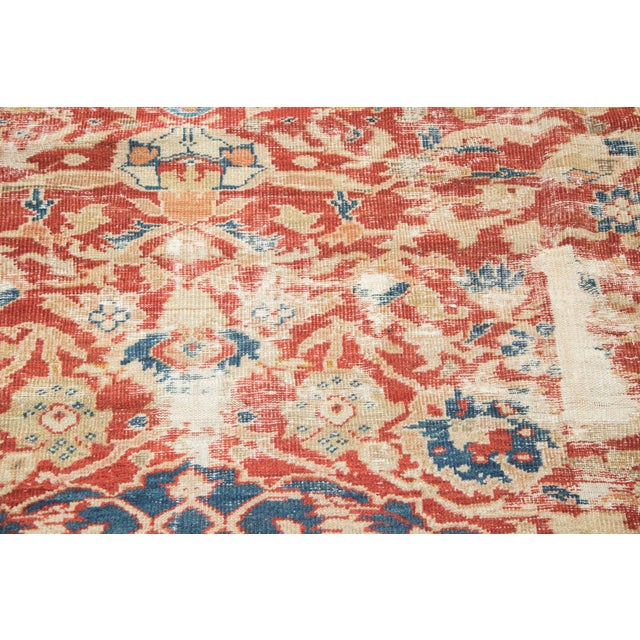 "Textile Antique Distressed Ziegler Sultanabad Carpet - 9'9"" X 13'3"" For Sale - Image 7 of 10"