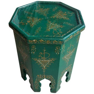 Small Hexagonal Moroccan Hand-Painted Green Side Table
