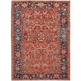 Early 20th Century Antique Distressed Persian Heriz Wool Rug For Sale