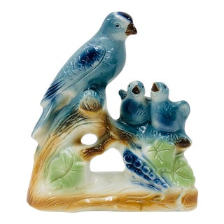 Mid Century Blue Bird Family Figurine For Sale