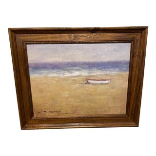 Original Oil Painting of a Boat on the Beach, Framed For Sale