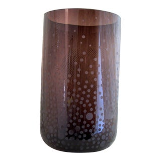 Late 20th Century Mikasa Dark Amber Brown Glass Etched Vase For Sale