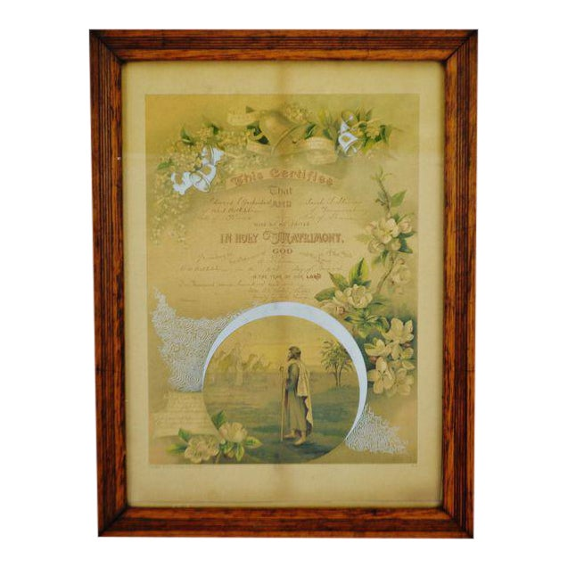 Antique Framed 1901 Pennsylvania Marriage Certificate Matrimony