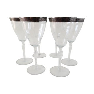 Sterling Floral Etched Cut Wine Glasses- Set of 4