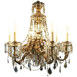 French Dore Bronze Crystal Waterfall Six-Light Chandelier Attributed to Baccarat For Sale