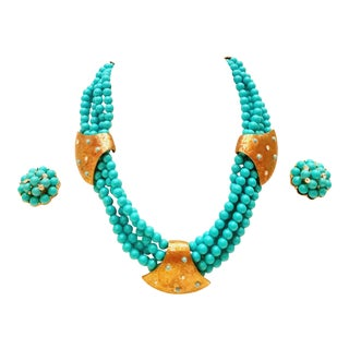 1960s Vintage Hadkell Style Gold Turquoise Bead & Swarovski Crystal Necklace & Earrings - Set of 3 For Sale