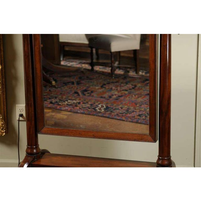 Early 19th Century Scottish 1820s Mahogany Free Standing Tilting Cheval Mirror with Crescent Legs For Sale - Image 5 of 11