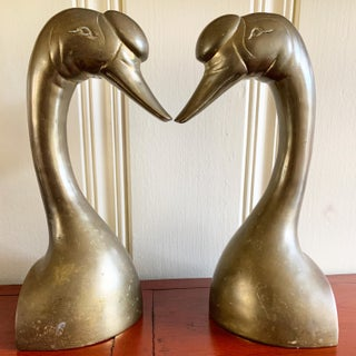 Midcentury Set of Two Tall Brass Swan Bookends Preview