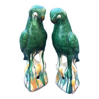 "Majolica Drip Glaze 17"" Parrots, a Pair For Sale"