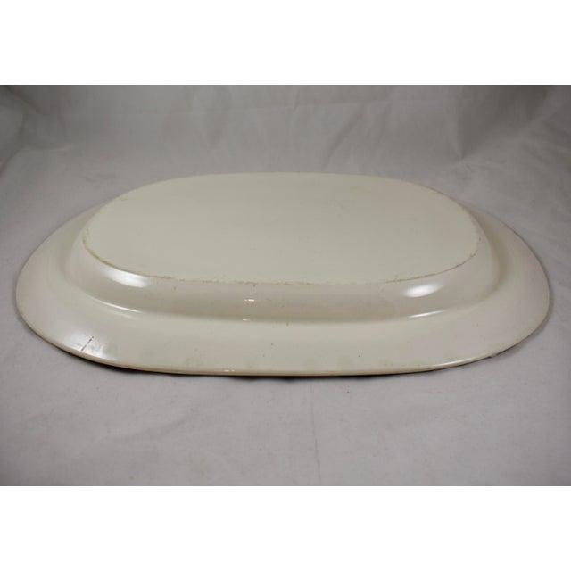 "Ceramic Josiah Spode 19"" Creamware Hand Painted Fern & Dot Platter, 1785 For Sale - Image 7 of 11"