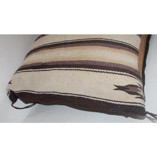 Navajo Indian Weaving Saddle Blanket Pillow With Leather Trim For Sale In Los Angeles - Image 6 of 9