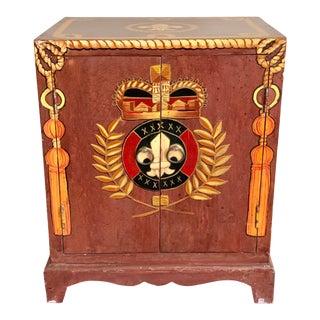 Trompe l'Oeil Painted Fleur De Lis Coat of Arms Rope Tassel Cabinet For Sale