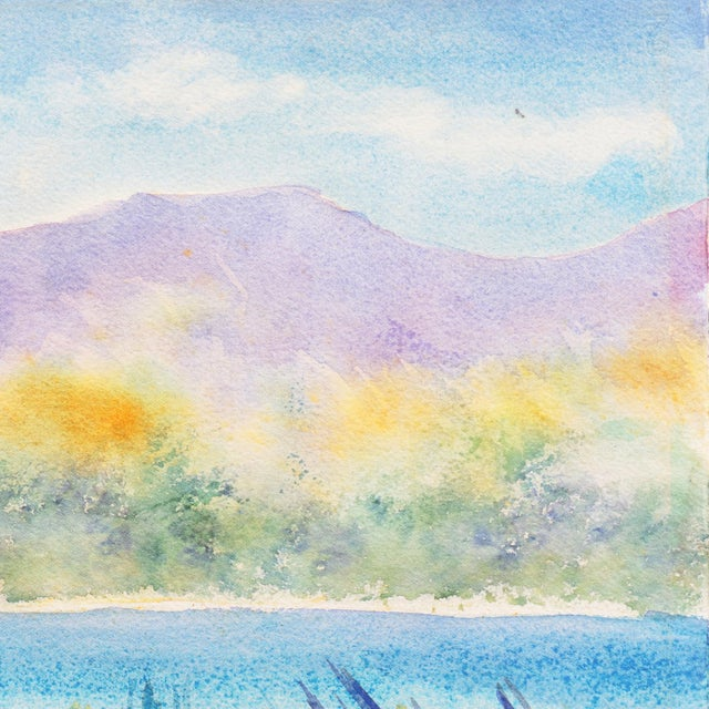 1970s 'Tropical Lagoon' by B. Metcalf, Impressionist Landscape With Palm Trees and Bougainvillea For Sale - Image 5 of 7