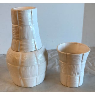 Vintage Fitz and Floyd Bamboo Design Ceramic Water Bottle and Two Cups - Set of 3 Preview