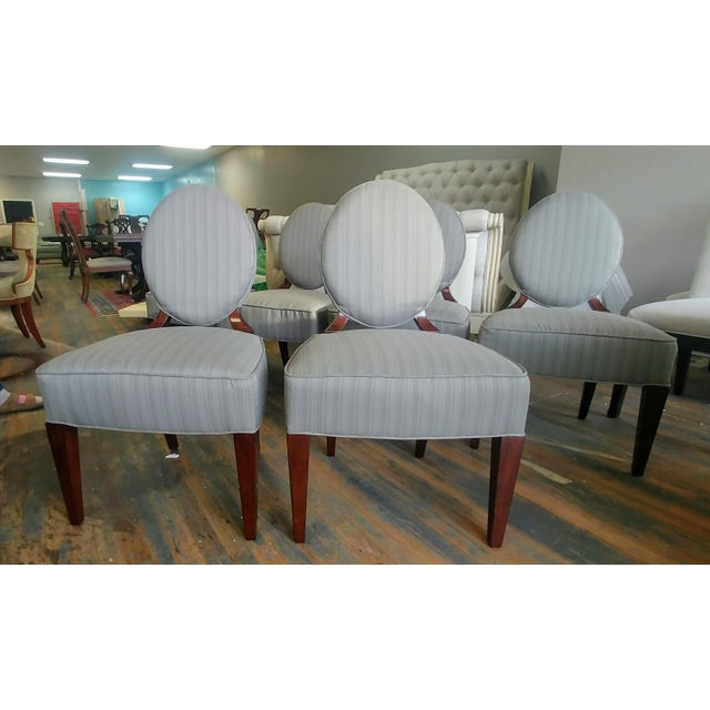 Gray Henredon Furniture Barbara Barry Walnut Oval Back Side Chairs - Set of 6 For Sale - Image 8 of 11