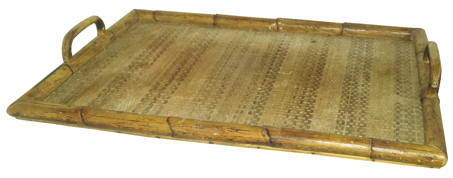 Vintage Bamboo Serving Tray Chairish
