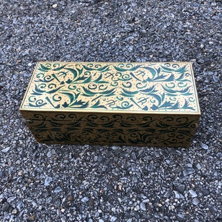 1960s Vintage Indian Gold & Green Decorative Wood Box Preview
