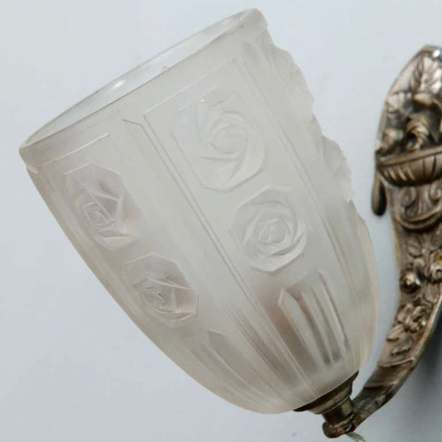 French Art Deco Sconces with Glass Shades - Pair - Image 6 of 7
