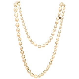 Chanel Vintage Classic Long Strand of Pearls Necklace For Sale