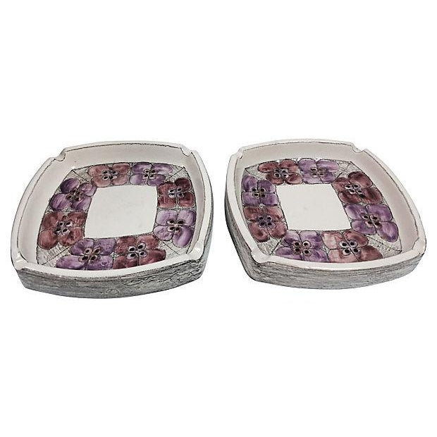 Mid-Century Flower Ashtrays - Pair For Sale
