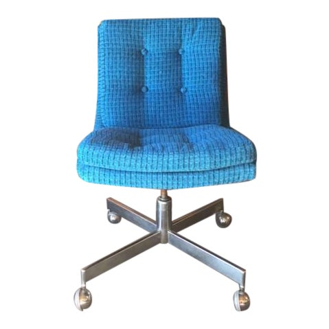Vintage Reupholstered Rolling Office Chair - Image 1 of 6