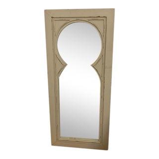 Antique White Wood Floor Mirror For Sale