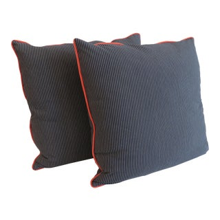 Custom Navy Stripe & Orange Trim Pillows - A Pair For Sale