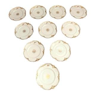 Napoleon III France Porcelain De Paris Hand Painted Dishes - 10 Pieces For Sale