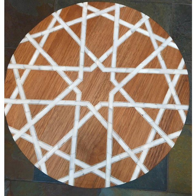 Modern Islamic Style Mother of Pearl Inlay Side Table For Sale In Los Angeles - Image 6 of 7