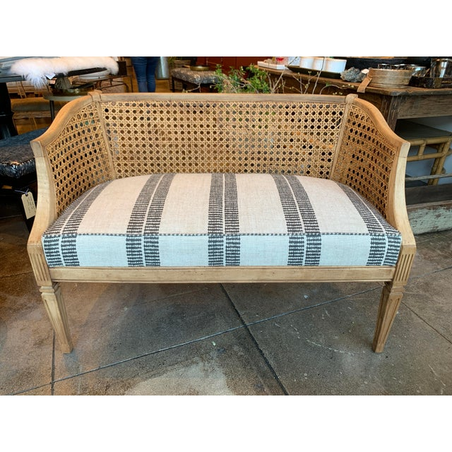 English 1960's Vintage Chippendale Cane Back Setee For Sale - Image 3 of 8