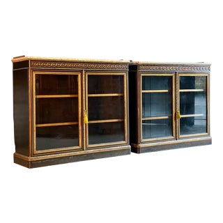 1850 Antique Lamb of Manchester Walnut Bookcases - A Pair For Sale