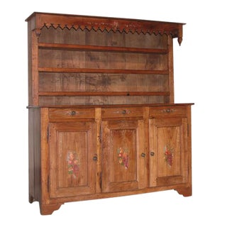 MId 18th Century Antique French Country Cherry Wood Cupboard For Sale