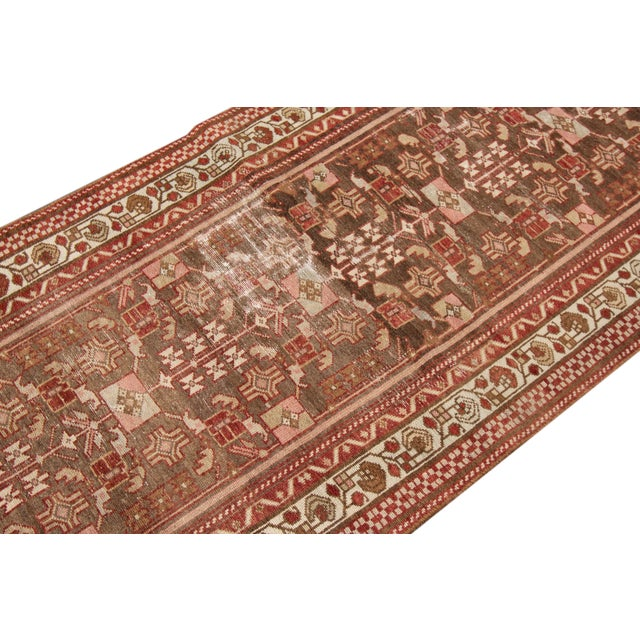 "1910s Traditional Apadana-Antique Persian Distressed Rug - 2'3"" X 10'0"" For Sale In New York - Image 6 of 11"