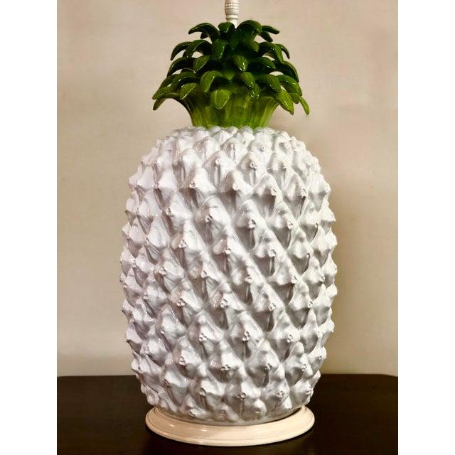 1950s Mid Century Italian Majolica Pineapple Table Lamp For Sale - Image 5 of 11