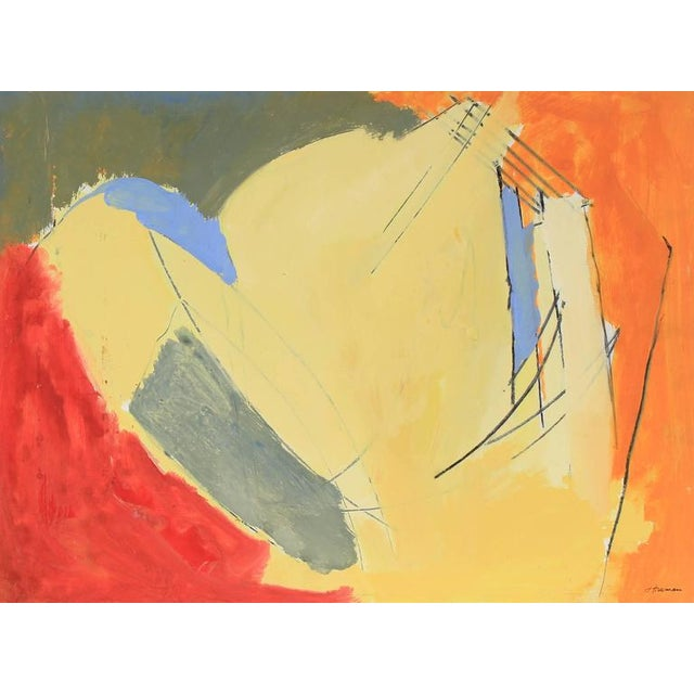 Abstract Jack Freeman Bright Abstract Expressionist Painting, Circa 1960s For Sale - Image 3 of 3
