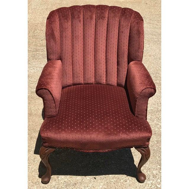 Orange Vintage Velvet Tufted Wingback Chair For Sale - Image 8 of 8