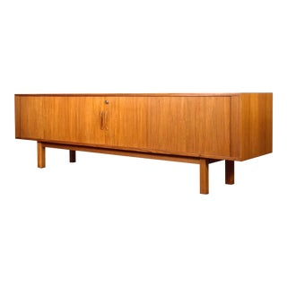 1970s Danish Modern Teak Low Tambour Sideboard For Sale