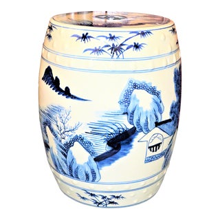 Chinoiserie Blue and White Village Landscape Garden Stool For Sale