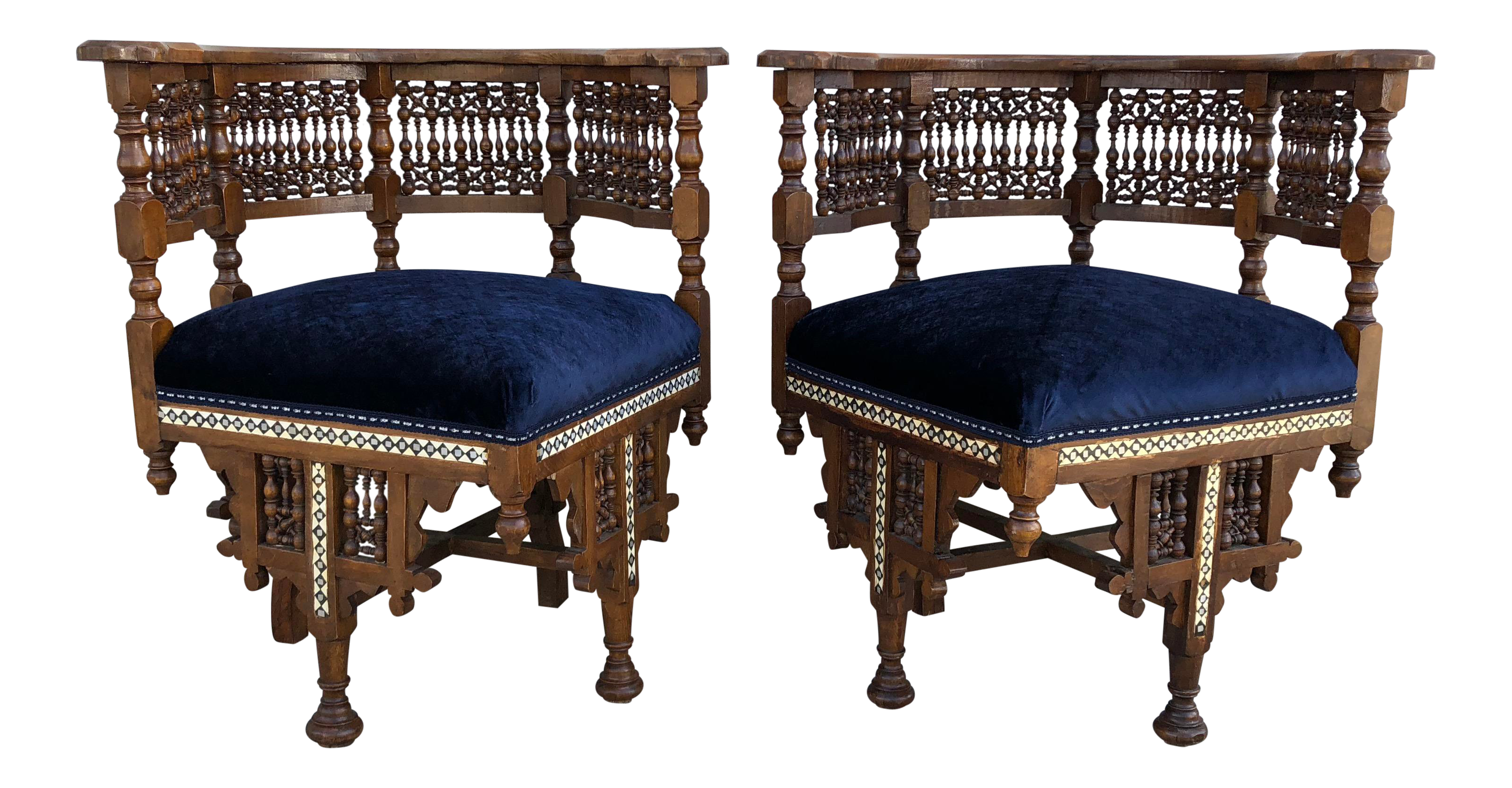 1950s Vintage Moroccan Mother Of Pearl Velvet Corner Chairs   A Pair